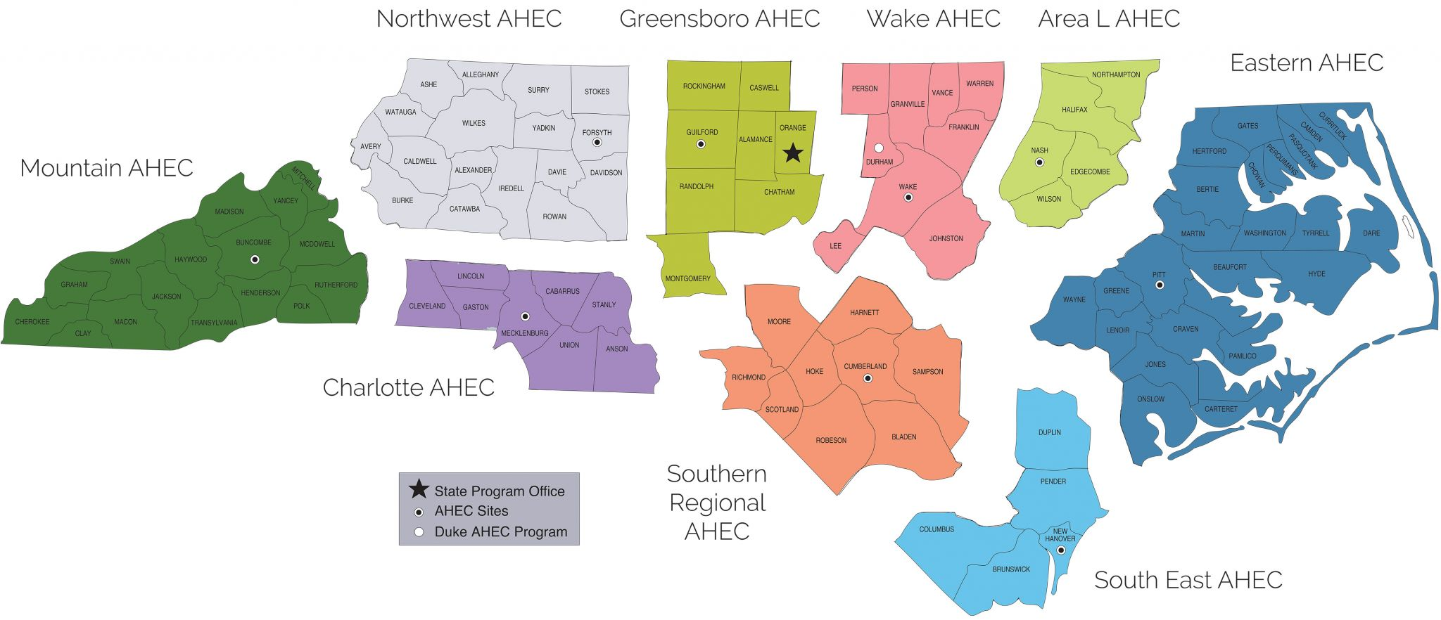 Regional AHEC Locations